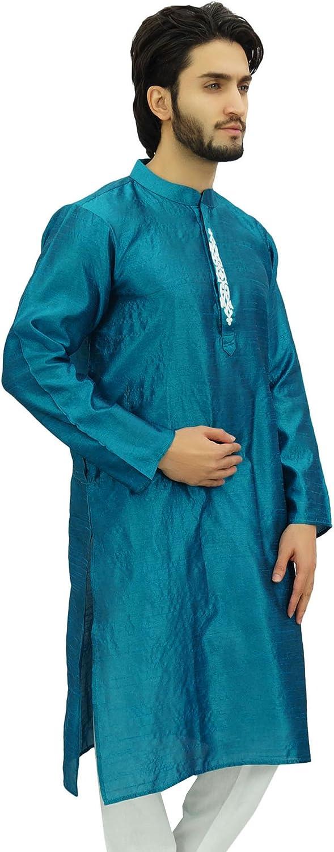 Atasi Camisa de Cuello Kurta Doble Azul de Para Hombres Ropa ...