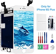 Screen Replacement for iPhone 6s Plus White with Camera, Model A1634, A1687, A1699 LCD Full Assembly 3D Touch Screen Digitizer Replacement Repair Kit with Proximity Sensor Ear Speaker
