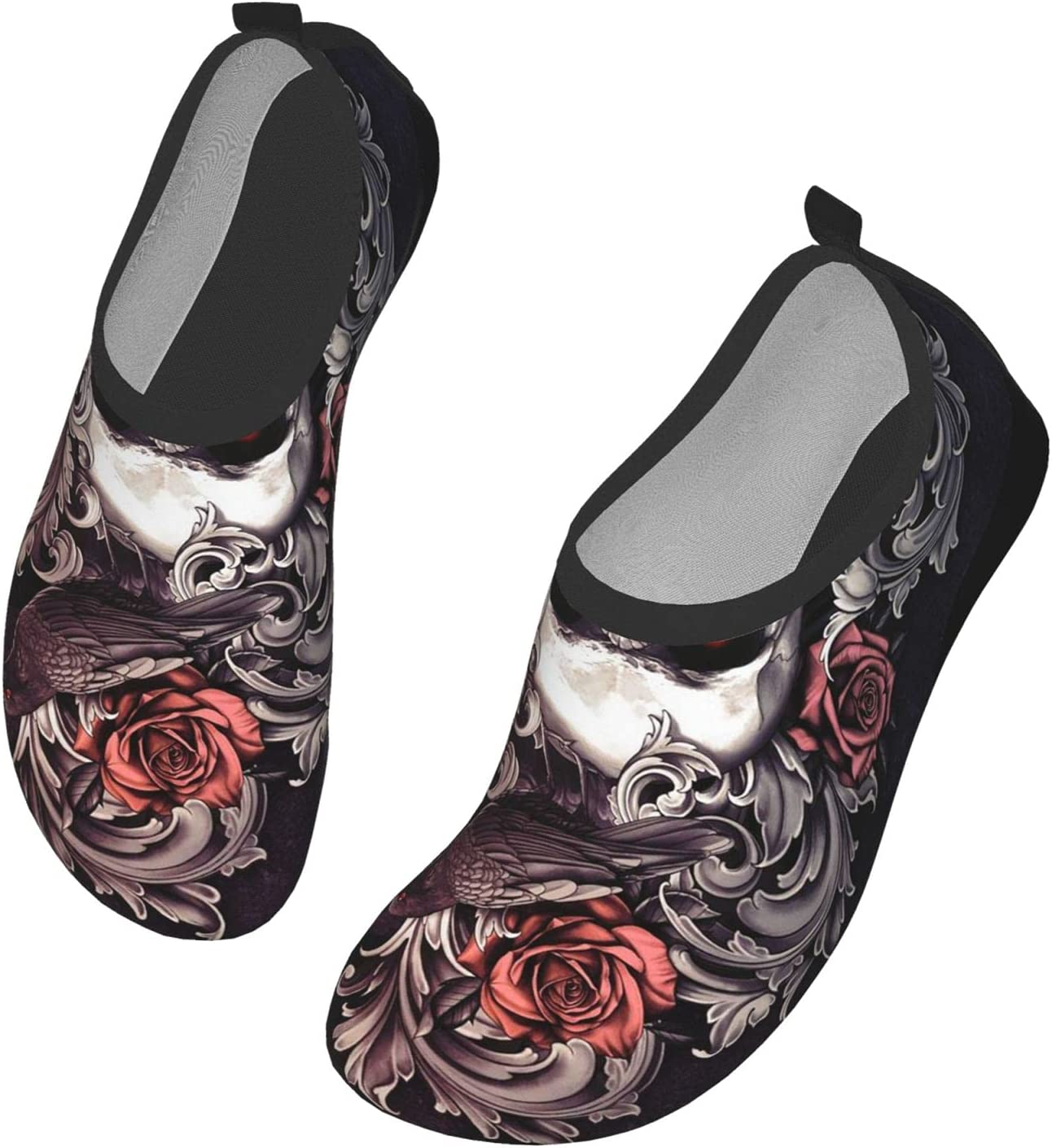 Womens Mens Summer Water Shoes Skull and Crow with Red Roses Barefoot Shoe Quick Dry Aqua Socks