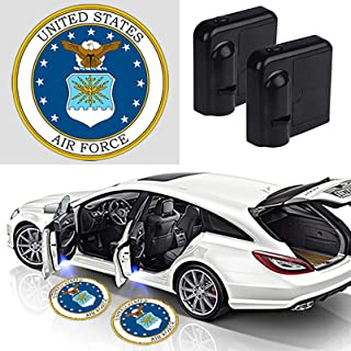 USAF Veteran Gifts 2PCS Car Door Projector Logo Lights For U.S Air Force Courtesy Wireless Welcome Ghost Shadow Lights Fit All Cars, USAF Pride Flag