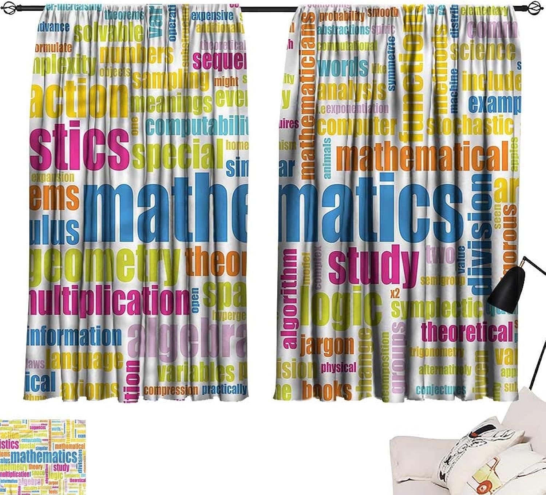 Jinguizi Drapes Draperies Darkening Curtains Mathematics Classroom,Math Words,Soft Curtain for Kids Room W55 x L63