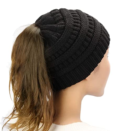 Dafunna Womens Ponytail Beanie Hat Soft Stretchy Cable Knit BeanieTail Warm  Winter Hat for Messy Bun f46ec5d3b23