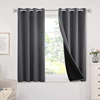 Deals on Set of 2 Deconovo White Curtain 100 Percent Blackout Curtains 52 x 63-In