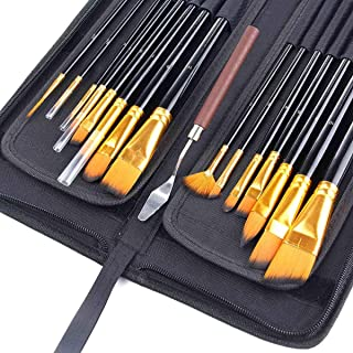 Art Paint Brush Set, Hamkaw 15 Pack Premium Artists Paint Brushes for Acrylic, Oil, Watercolor and Gouache Painting