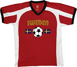 Sweden Soccer / Football and Flag Men's Soccer Style Sport T-Shirt, Amdesco