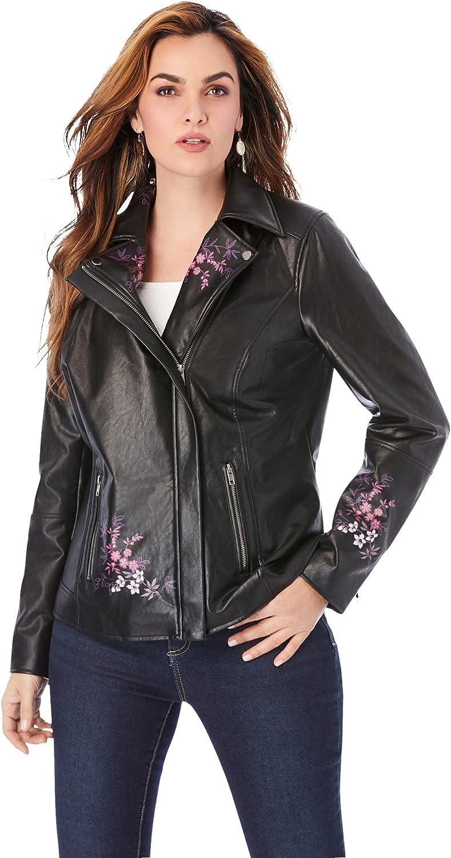 Roaman's Women's Plus Size Floral Moto Jacket Vegan Leather Jacket