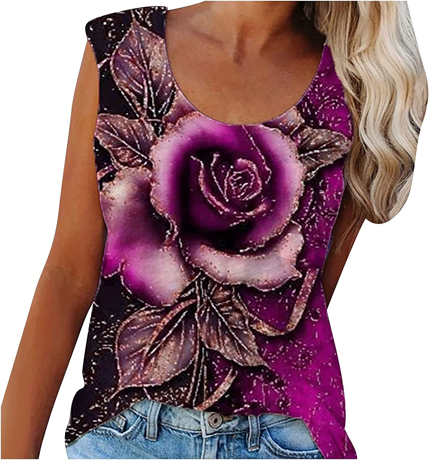 Woman Fashion Summer Casual O-Neck Sleeveless Flower Print Tops Vest Blouse