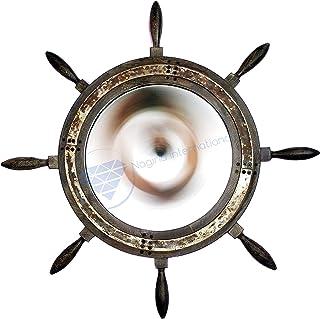 Large Premium Antique Vintage Iron Rusted Mirror Ship Wheel | Premium Rustic Decor | Nagina International (18 Inches)