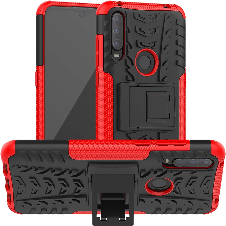 LiuShan Compatible con Alcatel 3L (2020) Funda,Heavy Duty Silicona Híbrida Rugged Armor Soporte Cáscara de Cubierta Protectora de Doble Caso para Alcatel 3L(2020)(Not fit Alcatel 3L(2019)),Rojo