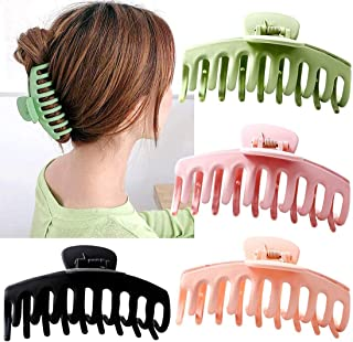 Big Claw Clips, DELFINO Nonslip Hair Clip Banana Large matte rubber for Women and Girls Think Curly Hair Design Accessorie...
