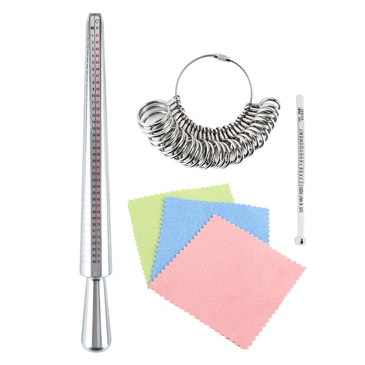Ring Sizer Mandrel Measuring Tool Plastic Ring Sizer Belt Finger Measurement Set with 3 Piece Jewelry Polishing Cloth