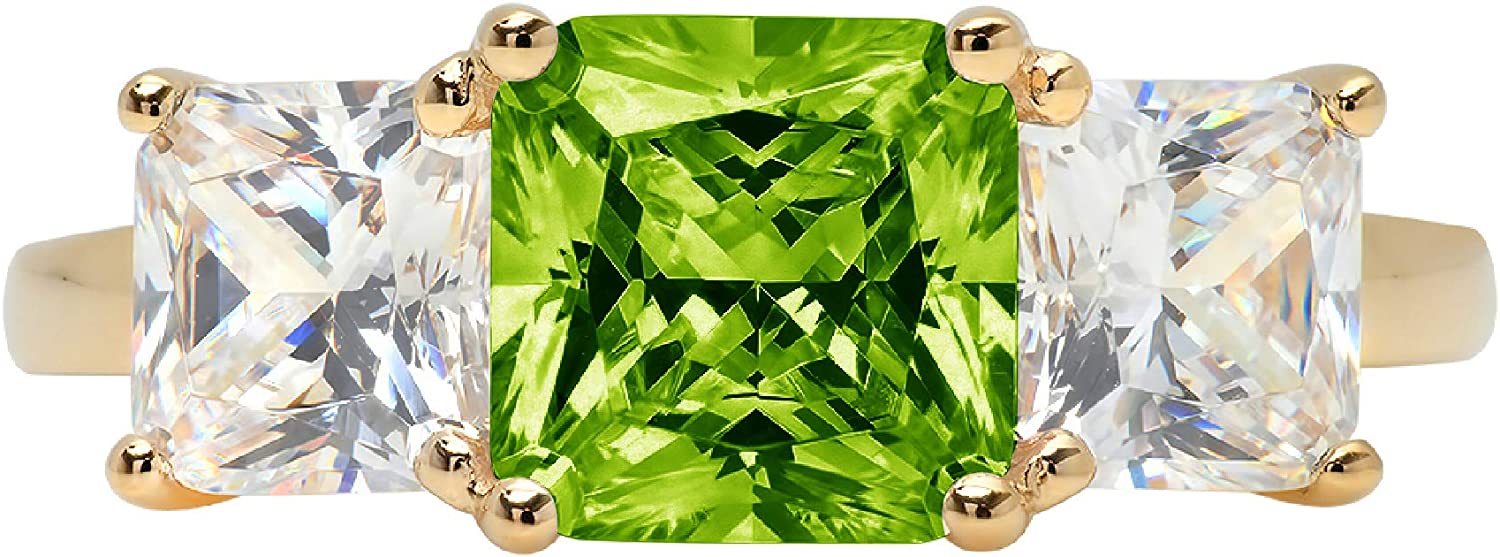 3.22ct Square Emerald Baguette cut 3 stone Solitaire Flawless Genuine Natural Pure Green Peridot Gemstone VVS1 Designer Modern Statement Ring Solid 14k Yellow Gold
