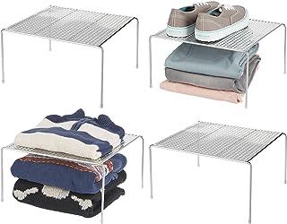 mDesign séparateur étagère pour garde-robe – organiseur d'armoire pratique en métal – aménageur de placard pour la chambr...