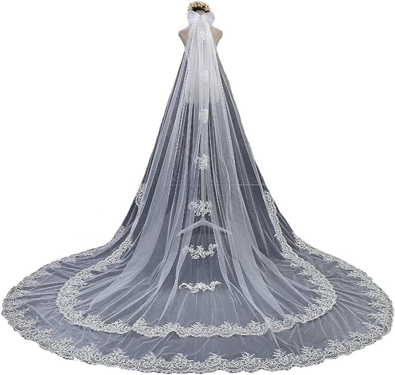 White 1 Tier 2 Lace Edges Long Floral Wedding Bridal Veils