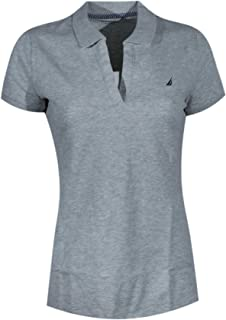 Nautica Women Split-Neck Polo Shirt (X-Large, Grey Heather (Black Logo))