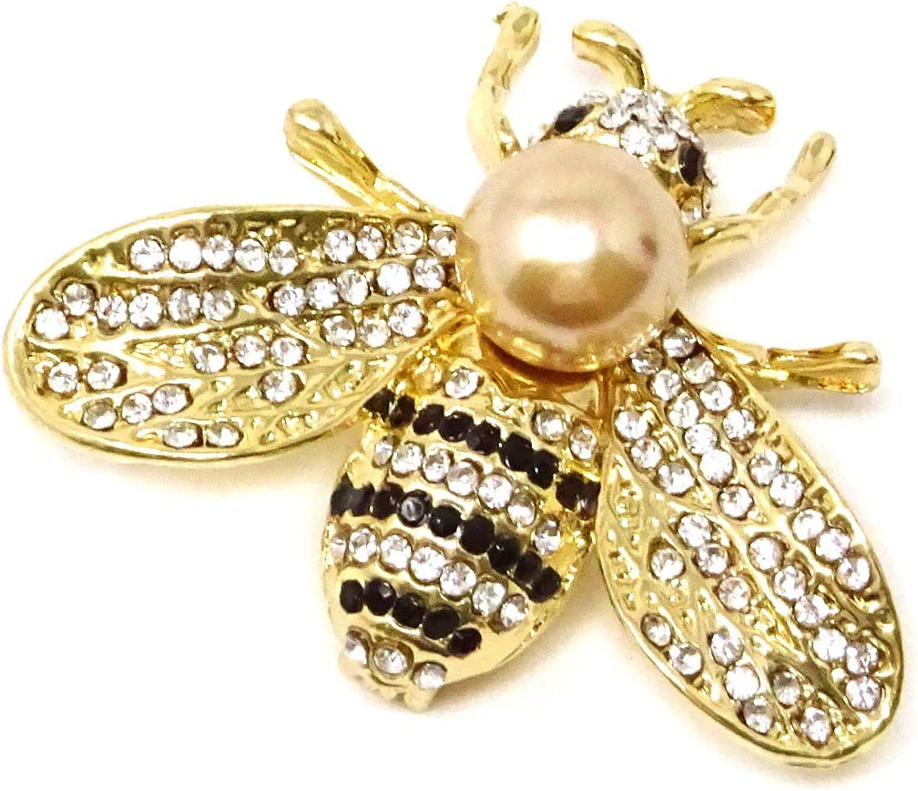 Honbay Fashion Vintage Gold Tone Honey Bee Brooch with Rhinestones and Pearl