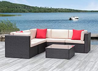 KaiMeng 6 Piece Lawn Garden Outdoor Patio Furniture Sets, Black Brown Ratten Wicker Sectional Sofa Sectional Conversation Set with Seat Cushions and 3 Pillows