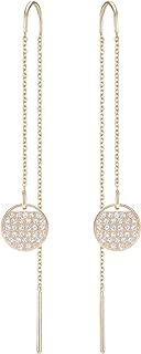 SWAROVSKI Women's Ginger Chain Pierced Earrings, White, Rose-gold tone plated
