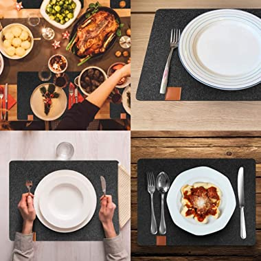 Placemats, Washable Heat-Resistant Felt Placemats, Set of 8 (4 Place Mats and 4 Coasters), Stain Resistant and Easy to Clean