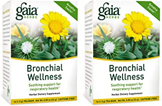Gaia Herbs Bronchial Wellness Herbal Tea, 16 Tea Bags (Pack of 2) - Soothing Support, Promotes Respiratory Health, Caffein...