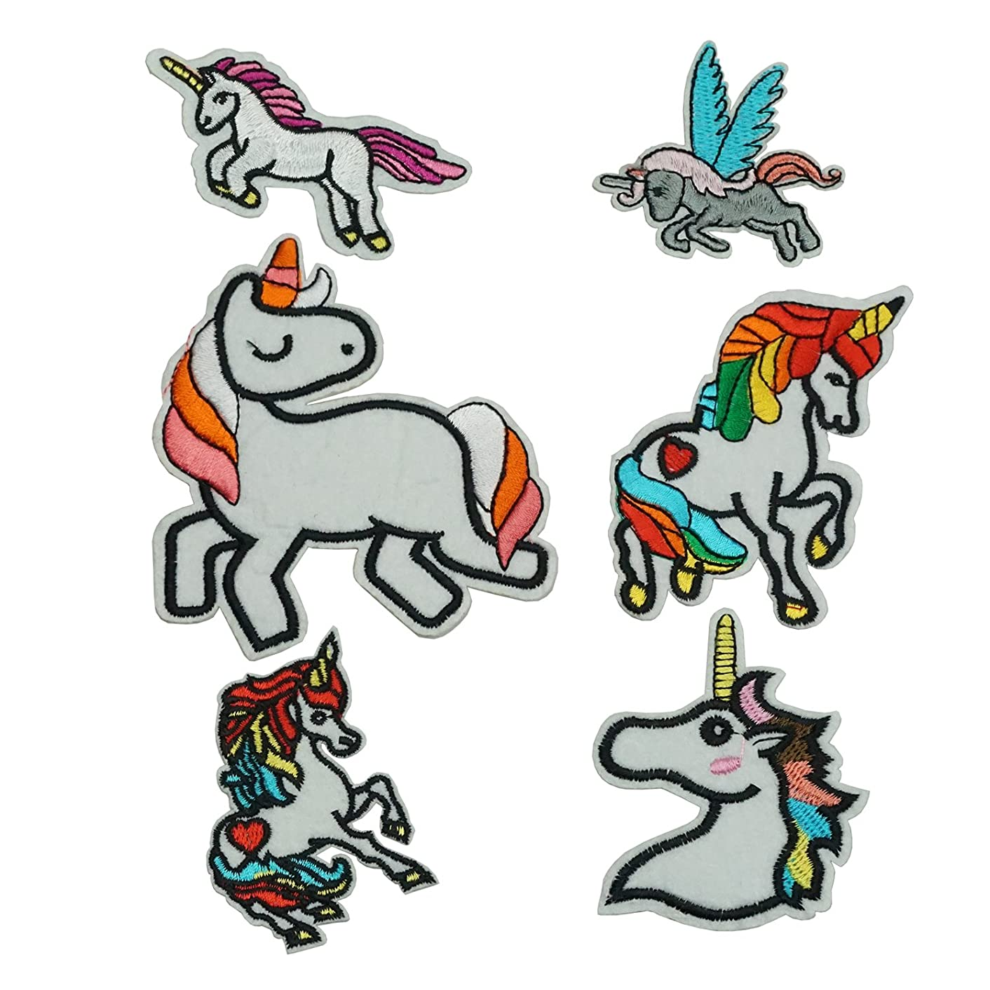 Set of 6 Cute Colorful Unicorn Iron on Patches Set Cloth Badges Embroidered Applique Sewing Patches Clothes Stickers