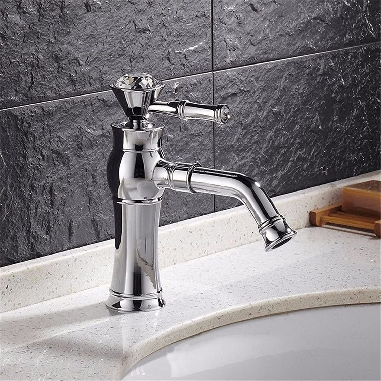 Lalaky Taps Faucet Kitchen Mixer Sink Waterfall Bathroom Mixer Basin Mixer Tap for Kitchen Bathroom and Washroom Silver Copper Rhinestone Retro Single Handle Single Hole