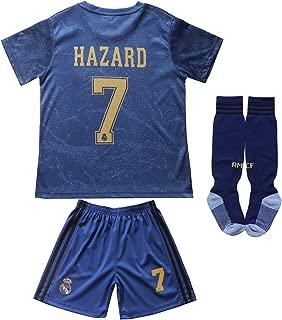 SecenMerch 2019/2020 New Hazard No #7 Real Madrid Away Blue Kids Soccer Jersey Kit Shorts Socks Set Youth Sizes