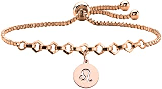 FUSTYLE Rose Gold Zodiac Sign Constellation Bracelet Women Astrology Charm Bracelet Birthday Gift (Leo BR-2)