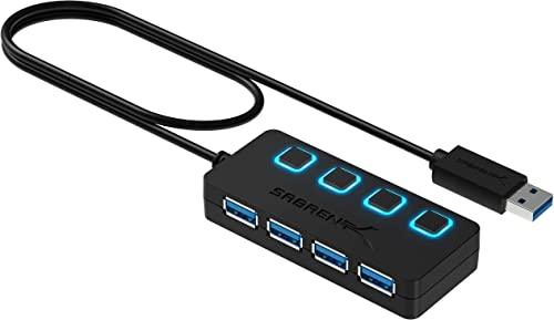 Sabrent 4-Port USB 3.0 Data Hub with Individual LED Power Switches | 2 Ft Cable | Slim & Portable (HB-UM43)