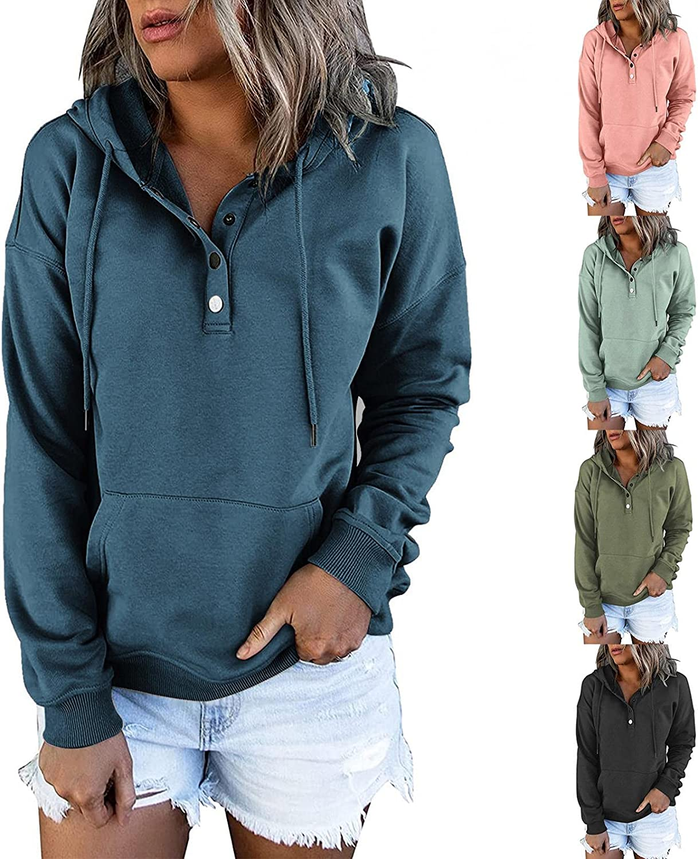 felwors Women's Lightweight Halloween Printed Hoodies Sweaters Button Loose Long Sleeve Drawstring Pullover Sweatshirts