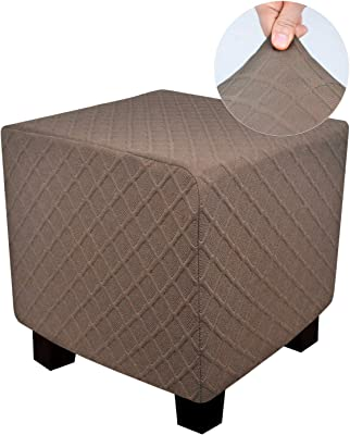 DUJUIKE Ottoman Slipover Square Ottoman Covers Storage Ottoman Protector Cover for Footrest Foot Stool Furniture Stretch Rhombus Jacquard (Brown, Small)
