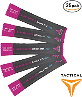 Tactical Hydration, Instant Electrolytes, Reduce Fatigue, Prevent Dehydration, Eliminate Cramps (Wild Berry, 25 Stick Packs)