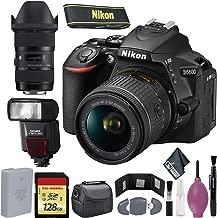 Nikon D5600 DSLR Camera with 18-55mm and 70-300mm Lenses (International Model) - 128GB - Case - EN-EL14a Battery