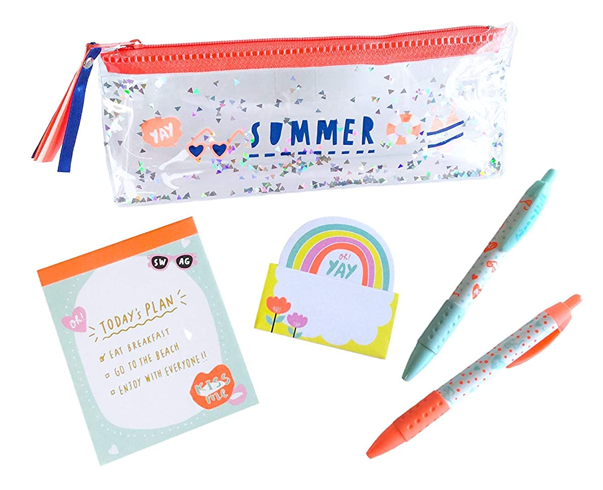 Cute Japanese Stationery Set (Vinyl Pen Case, Ballpoint Pen Black Ink 0.7 mm, Memo Pads, Sticky Note) 4 PCS Orange