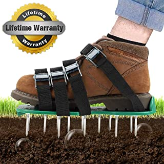 TONBUX Lawn Aerator Shoes Spiked Aerating Lawn Sandals with 26 Spikes and 8 Adjustable Straps Heavy Duty Lawn Aerator Sandal Includes Garden Work Gloves for Aerating Your Lawn or Yard