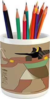 Lunarable Egyptian Pencil Pen Holder, Abstract Mythological Eygptian Invention of Embalming First Mummy Old Times, Printed Ceramic Pencil Pen Holder for Desk Office Accessory, Multicolor