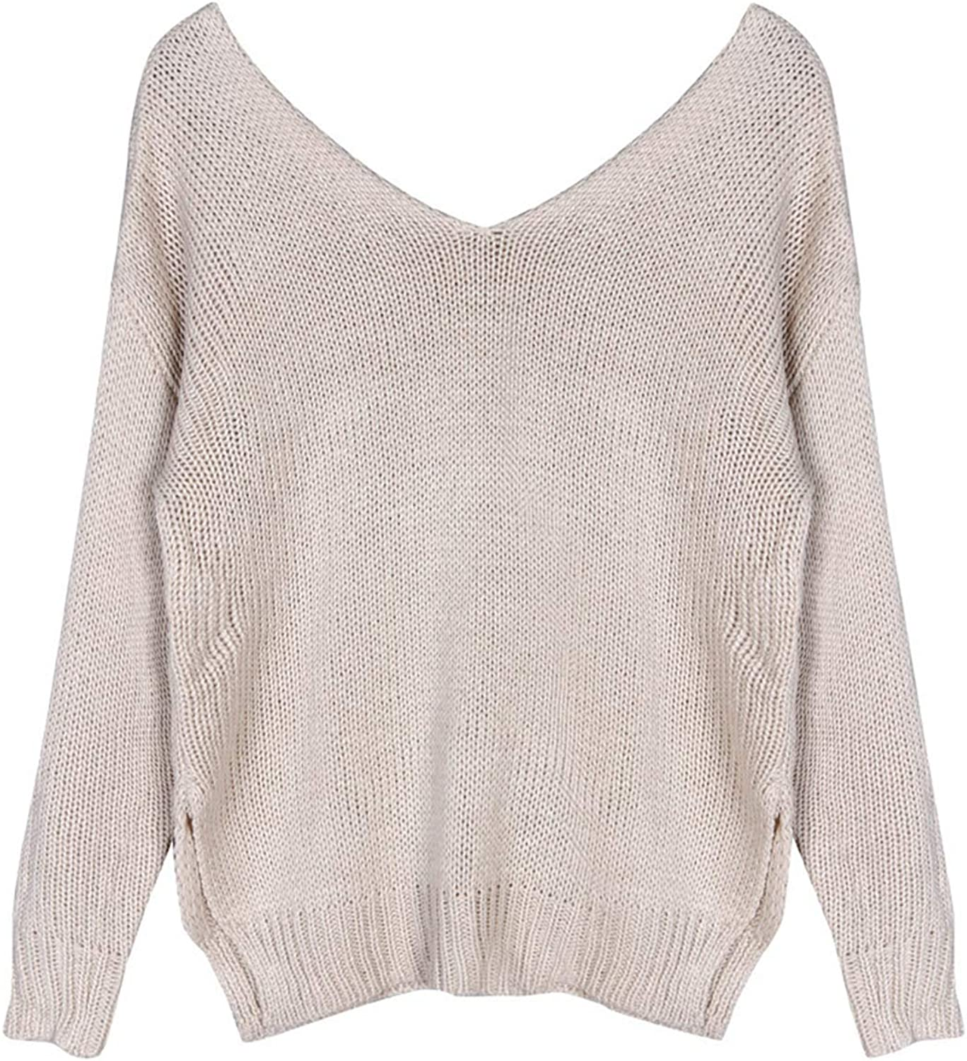 Vedolay Womens Sweaters Clearance, Womens Off Shoulder Knitted Split Sexy V-Neck Jumper Casual Sweaters Tops
