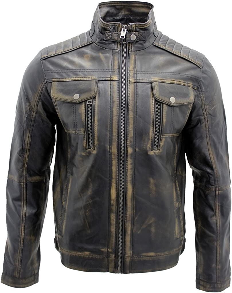 Men's Super beauty product restock quality top Vintage Black Leather Biker Jacket Super special price