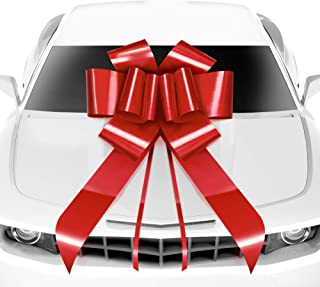 MIFFLIN Big Car Bow (Red, 23 inch, 1 Pack), Gift Bows, Giant Bow for Car, Birthday Bow, Huge Car Bow, Car Bows, Big Red Bow, Bow for Gifts, Christmas Bows for Cars, Gift Wrapping, Big Gift Bow