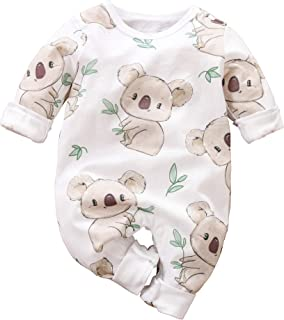 IURNXB Neugeborenes Baby Mädchen Männlich Spielanzug Kleines Kleinkind Nette Druck Sommer Lange Hülsen Overall Kleidung