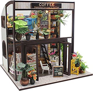 TORCH-CN DIY Dollhouse Wooden Miniature Furniture Kit Mini Cafe House with LED Best Birthday Gifts for Women and Girls (Cafe)