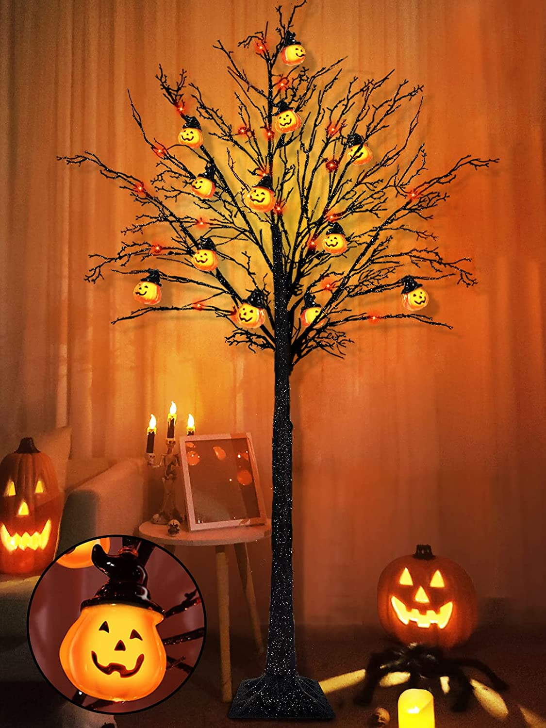 TURNMEON 6 Feet Halloween Black Tree Decorations with Timer Total 96 LED Orange Lights, 24 Jack-O-Lantern Ornaments PumpkinsGlittered Artificial Tree for Indoor Outdoor Garden Yard Holiday Party Home