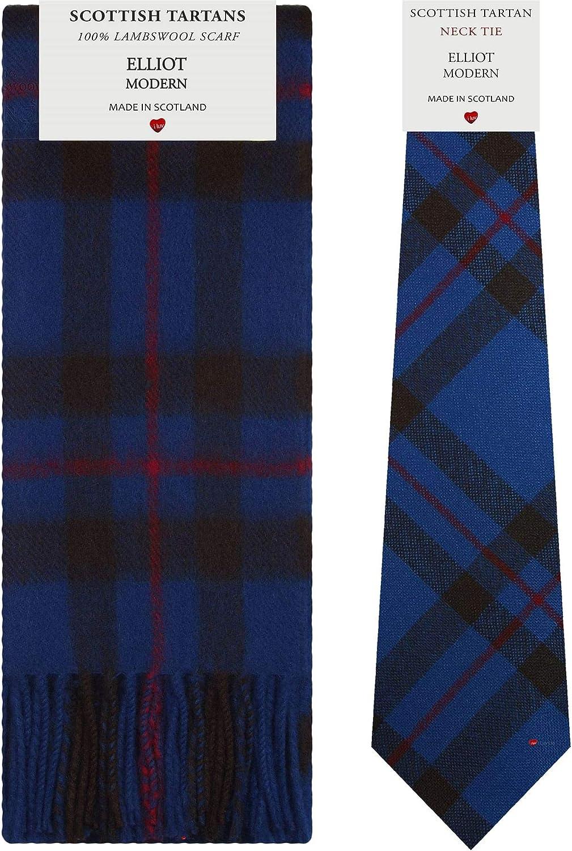 Elliot Modern Tartan Plaid 100% Lambswool Scarf & Tie Gift Set