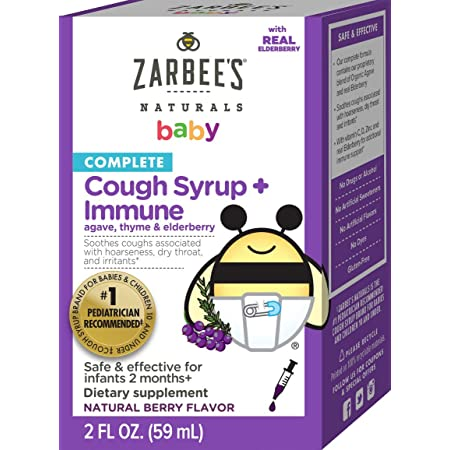 Zarbee's Naturals Complete Baby Cough Syrup Immune with Agave/Thyme & Elderberry, 2 Fl Oz (Pack of 1)