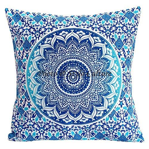Stylo Culture Estuches étnicos Estuches Fundas Cojines Scatter Azul Impreso Floral Cojín Throw Cojín Algodón Tradicional 40x40 cm Cojines Mandala Ombre Square Cojines (1 Pieza)