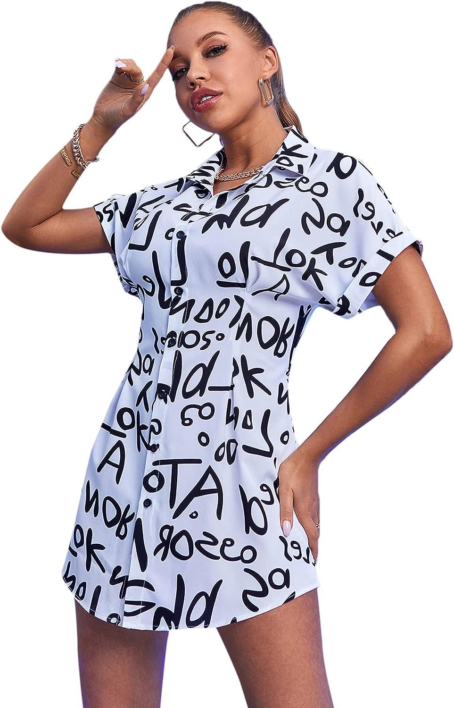 Floerns Women's Letter Print Button Down Shirt Short Sleeve Long Blouse Tops