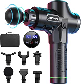 Pistolet de massage,ANSGEC Pistolet Massage Portable, 30 Vitesses Réglables, 6 Têtes de Massage et l'Écran LCD, Ultra Sile...