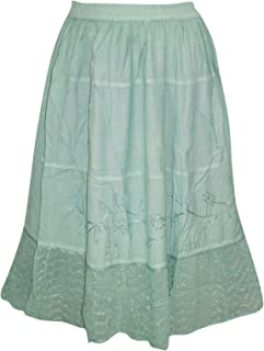 Mogul Interior Womens Peasant Skirt Boho Gypsy Moss Green Embroidered Medieval Skirts