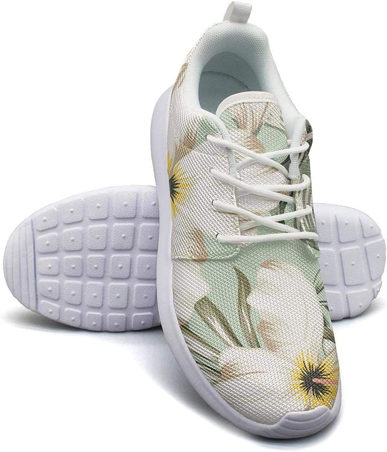 CHALi99 Womens Lightweight Mesh shoes Tropical Floral Hawaiian Lilies Monstera Sneakers Trail Running Soft Sole