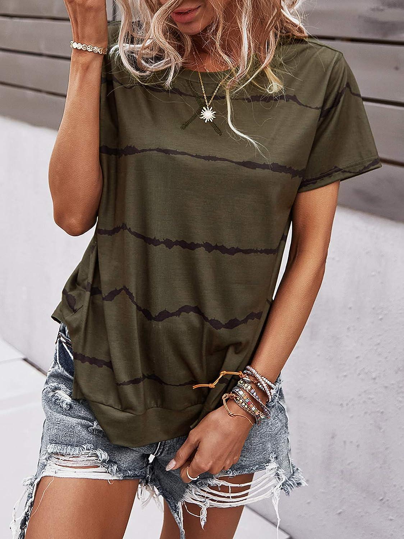 Bequemer Laden Womens Casual Summer Short Sleeve Crewneck Shirts Tops Blouse Basic Tee T-Shirt